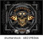 vintage motorcycle label | Shutterstock .eps vector #682198366