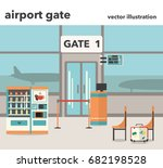 vector illustration of airport... | Shutterstock .eps vector #682198528