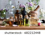 selection of essential oils ... | Shutterstock . vector #682212448
