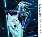 elf with white wolf. vector... | Shutterstock .eps vector #682217224