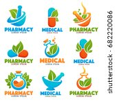 eco pharmacy  glossy shine logo ... | Shutterstock .eps vector #682220086