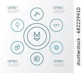 summer outline icons set.... | Shutterstock .eps vector #682229410