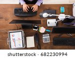 elevated view of businessperson ... | Shutterstock . vector #682230994