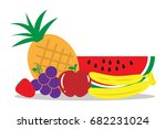 group of fruits flat design | Shutterstock .eps vector #682231024