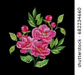 vector embroidery with pink... | Shutterstock .eps vector #682234660