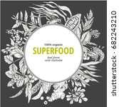 superfood round banner  sketch... | Shutterstock .eps vector #682243210