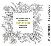 superfood square banner sketch... | Shutterstock .eps vector #682243330