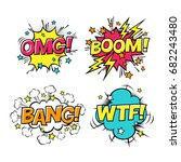 comic speech bubbles set with... | Shutterstock .eps vector #682243480
