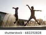 kids jumping and having fun... | Shutterstock . vector #682252828