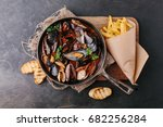 mussels with sauce in a frying... | Shutterstock . vector #682256284