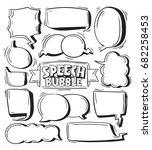 hand drawing speech bubbles...   Shutterstock .eps vector #682258453