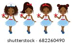 vector cute little african... | Shutterstock .eps vector #682260490