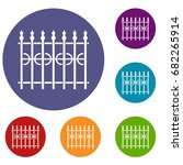 Park Fence Icons Set In Flat...