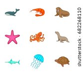 marine fauna icons set. cartoon ... | Shutterstock .eps vector #682268110