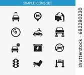 set of 12 editable car icons.... | Shutterstock .eps vector #682280230