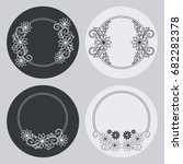 Set Of Silhouette Round Frames...