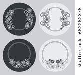 set of silhouette round frames... | Shutterstock .eps vector #682282378