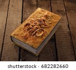 close up of magic book with... | Shutterstock . vector #682282660