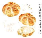 kaiser roll. watercolor... | Shutterstock . vector #682296610
