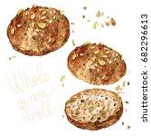 whole grain roll. watercolor... | Shutterstock . vector #682296613