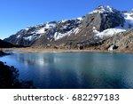 alpine lake in kanchenjunga... | Shutterstock . vector #682297183