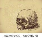 hand drawn skull on old paper.... | Shutterstock .eps vector #682298773