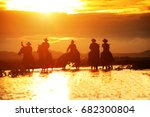 group cowboy  on horseback ... | Shutterstock . vector #682300804