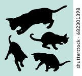 cat animal gesture silhouette.... | Shutterstock .eps vector #682301398