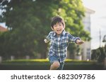 cute asian child playing in the ... | Shutterstock . vector #682309786