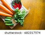 fresh vegetables on chopping... | Shutterstock . vector #682317574