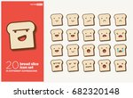 set of cute bread slice emoji...   Shutterstock .eps vector #682320148