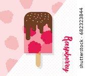 raspberry popsicle. healthy... | Shutterstock .eps vector #682323844
