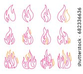 red fire flat icons and signs... | Shutterstock .eps vector #682336636