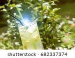 basil lemonade   cold summer...   Shutterstock . vector #682337374