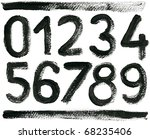 hand drawn abc numbers set ... | Shutterstock . vector #68235406