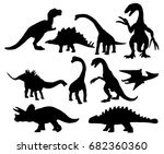 set of dinosaurs silhouettes... | Shutterstock . vector #682360360