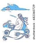 mermaid sitting on a rock ...   Shutterstock . vector #682360729