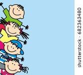 happy kids  banner  vector icon | Shutterstock .eps vector #682363480