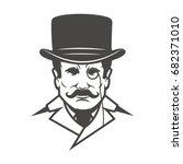 gentleman head isolated on... | Shutterstock .eps vector #682371010