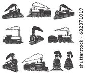 set of vintage trains isolated... | Shutterstock .eps vector #682371019