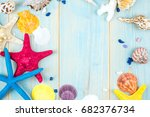 starfish and shells on a wooden ... | Shutterstock . vector #682376734