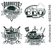 set of vintage barbecue... | Shutterstock .eps vector #682381948