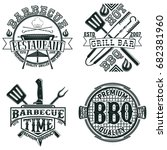 set of vintage barbecue... | Shutterstock .eps vector #682381960