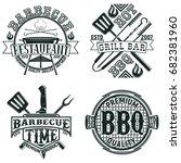 set of vintage barbecue... | Shutterstock .eps vector #682381960