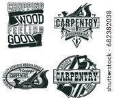 set of vintage woodworking logo ...   Shutterstock .eps vector #682382038