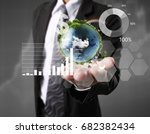 businessman with financial... | Shutterstock . vector #682382434