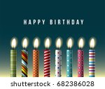 colorful birthday candles.... | Shutterstock .eps vector #682386028
