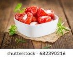 fresh made red pepper  stuffed... | Shutterstock . vector #682390216