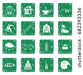 snowboarding icons set in... | Shutterstock .eps vector #682393336