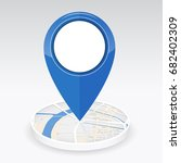 gps icon mock up blue color on... | Shutterstock .eps vector #682402309